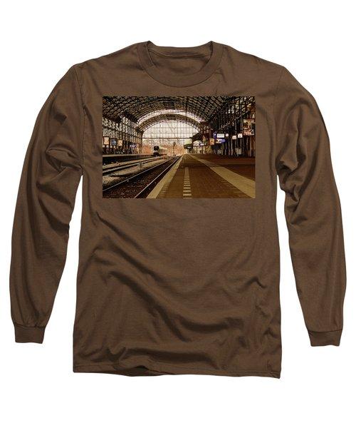Historic Railway Station In Haarlem The Netherland Long Sleeve T-Shirt by Yvon van der Wijk