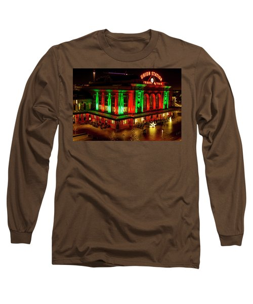 Holiday Lights At Union Station Denver Long Sleeve T-Shirt by Teri Virbickis