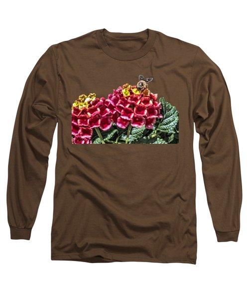 Honey Bee On Flower Long Sleeve T-Shirt by Daniel Hebard