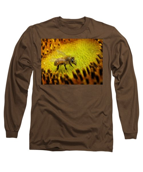 Long Sleeve T-Shirt featuring the photograph Honeybee On Sunflower by Chris Berry