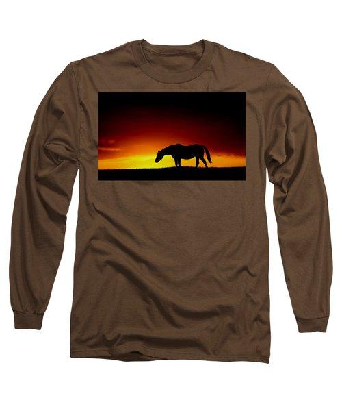 Horse At Sunset Long Sleeve T-Shirt