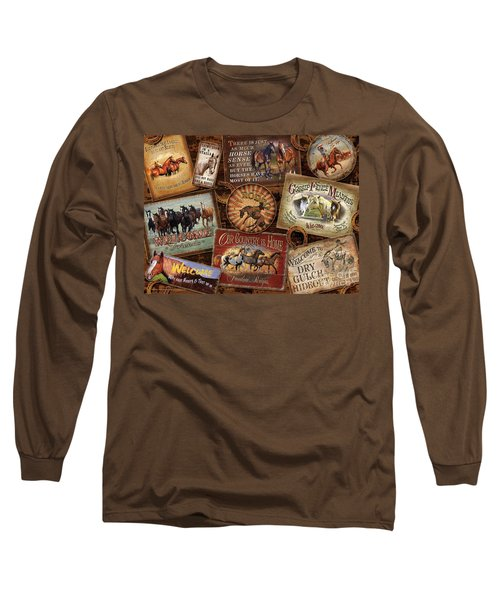 Horse Sign Collage Long Sleeve T-Shirt by Michelle Grant Cynthie Fisher JQ Licensing