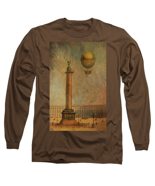 Long Sleeve T-Shirt featuring the digital art Hot Air Balloon Over St Petersburg And The Hermitage by Jeff Burgess