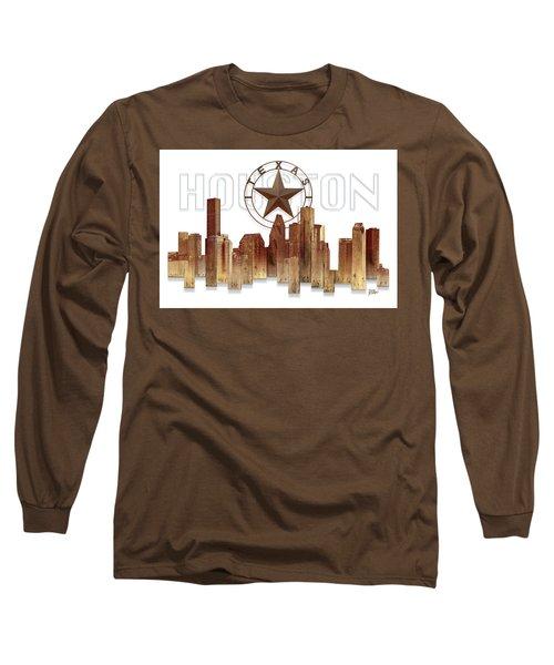 Houston Texas Skyline Long Sleeve T-Shirt by Doug Kreuger