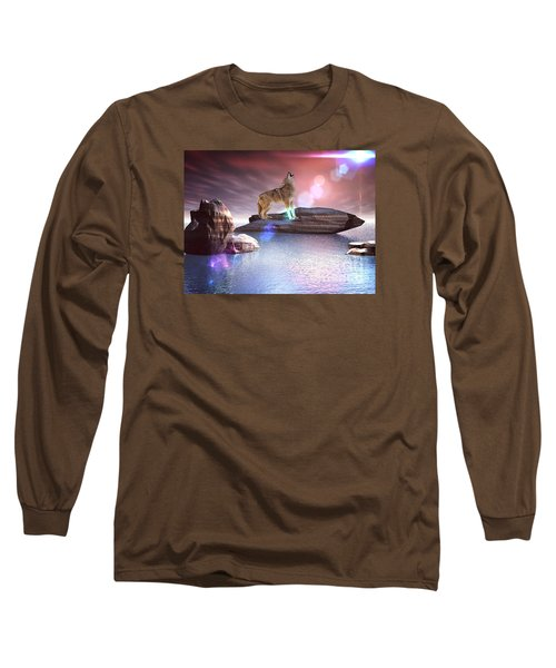 Long Sleeve T-Shirt featuring the digital art Howling Wolf Beloved by Jacqueline Lloyd
