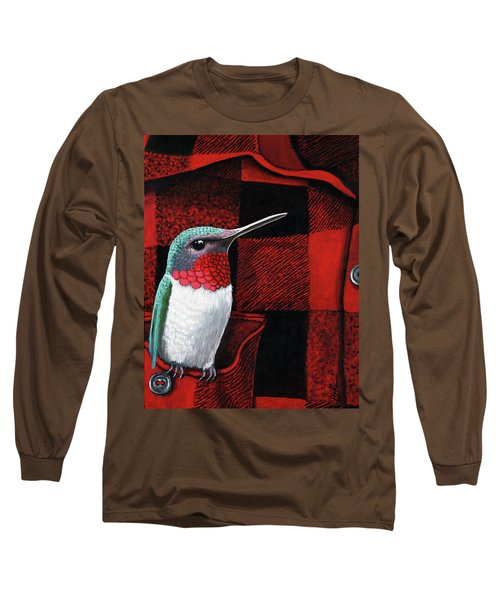 Long Sleeve T-Shirt featuring the painting Hummingbird Memories by Linda Apple