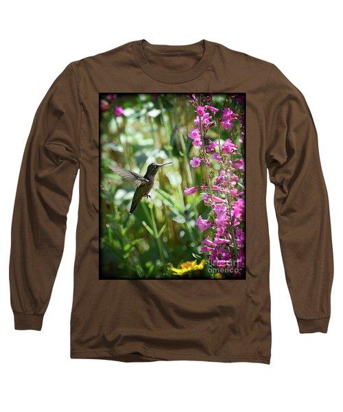 Hummingbird On Perry's Penstemon Long Sleeve T-Shirt by Saija  Lehtonen