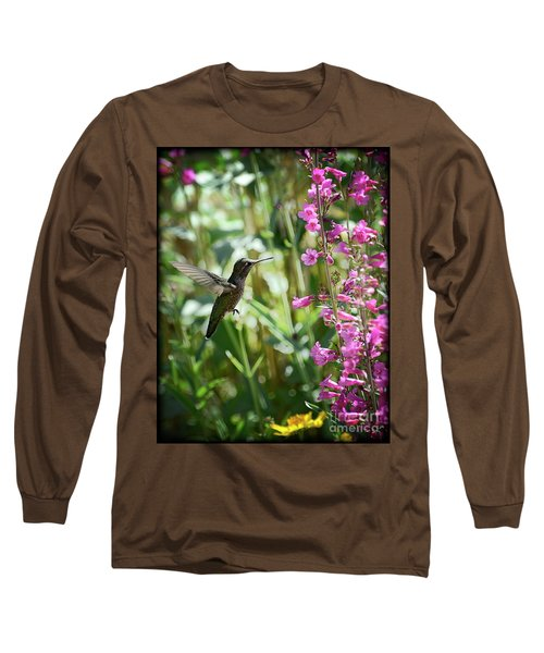 Hummingbird On Perry's Penstemon Long Sleeve T-Shirt