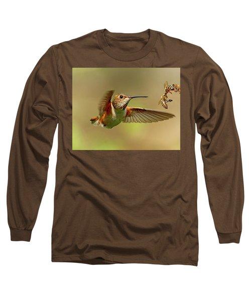 Hummingbird Vs. Bees Long Sleeve T-Shirt by Sheldon Bilsker
