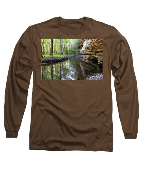 Illinois Canyon In Spring Starved Rock State Park Long Sleeve T-Shirt