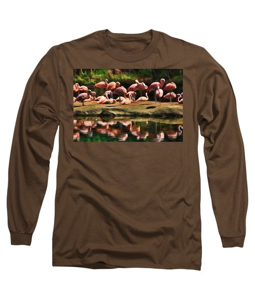 Pink Flamingo Color Long Sleeve T-Shirt