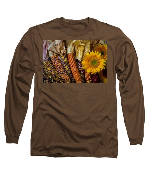 Indian Corn And Sunflowers Long Sleeve T-Shirt