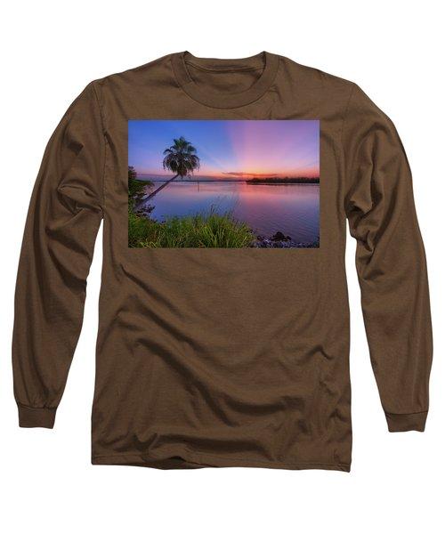 Indian River State Park Bursting Sunset Long Sleeve T-Shirt by Justin Kelefas