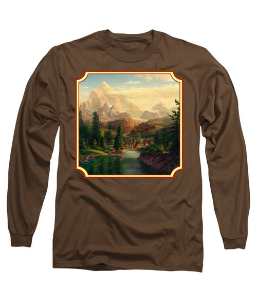 Indian Village Trapper Western Mountain Landscape Oil Painting - Native Americans -square Format Long Sleeve T-Shirt