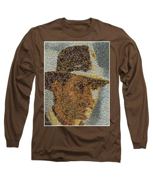 Long Sleeve T-Shirt featuring the mixed media Indiana Jones Treasure Coins Mosaic by Paul Van Scott