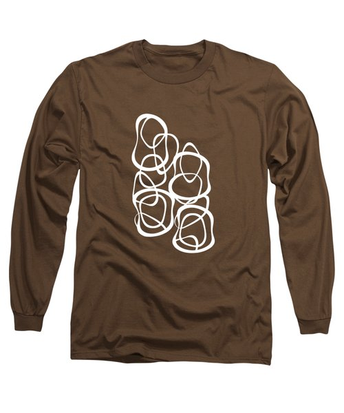 Long Sleeve T-Shirt featuring the digital art Interlocking - White On Coffee - Pattern by Menega Sabidussi