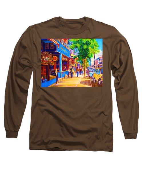 Long Sleeve T-Shirt featuring the painting Irish Pub On Crescent Street by Carole Spandau