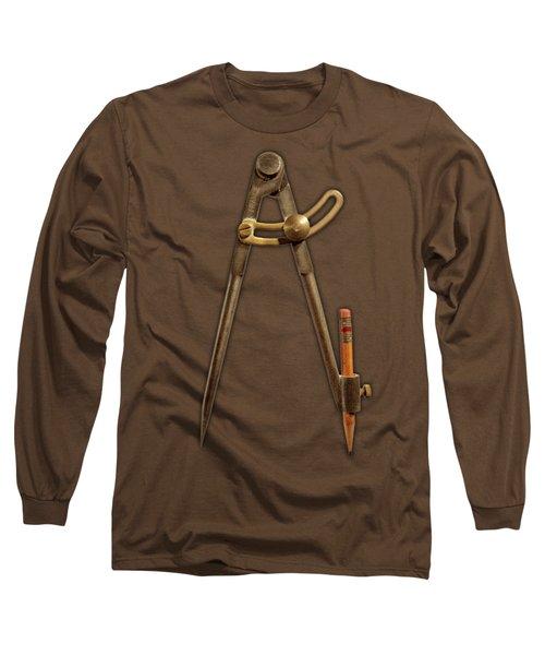 Iron Compass On Black Paper Long Sleeve T-Shirt