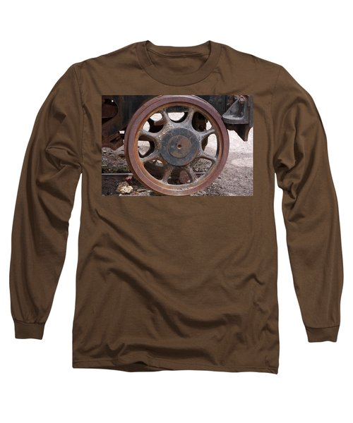 Long Sleeve T-Shirt featuring the photograph Iron Train Wheel by Aidan Moran
