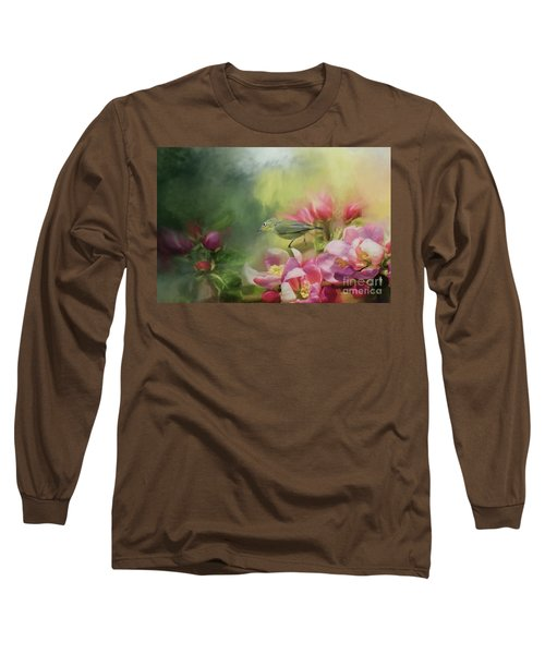 Japanese White-eye On A Blooming Tree Long Sleeve T-Shirt by Eva Lechner