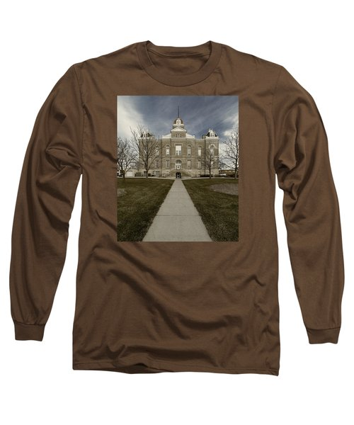 Jefferson County Courthouse In Fairbury Nebraska Rural Long Sleeve T-Shirt