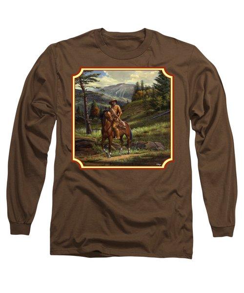Jim Bridger - Mountain Man - Square Format Long Sleeve T-Shirt