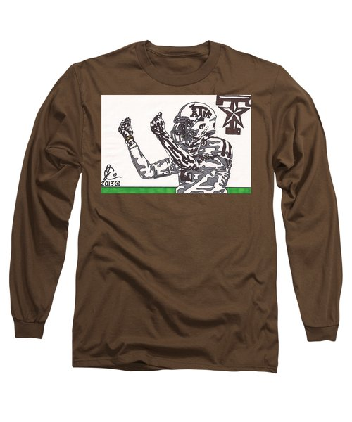 Johnny Manziel 10 Change The Play Long Sleeve T-Shirt by Jeremiah Colley