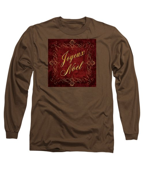 Joyeux Noel In Red And Gold Long Sleeve T-Shirt by Caitlyn  Grasso