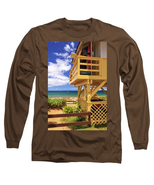 Long Sleeve T-Shirt featuring the photograph Kamaole Beach Lifeguard Tower by James Eddy