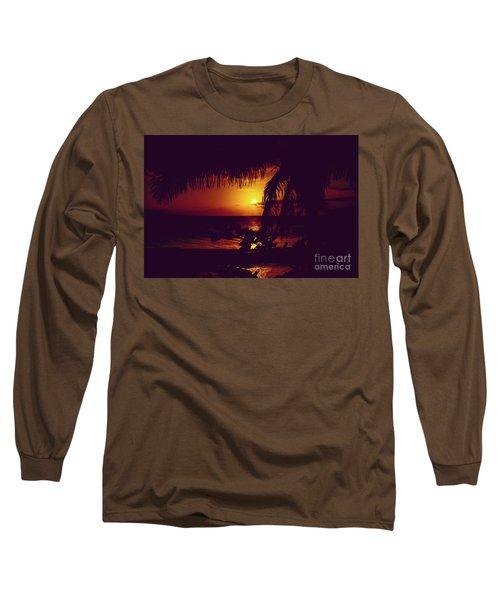 Kamaole Tropical Nights Sunset Gold Purple Palm Long Sleeve T-Shirt by Sharon Mau