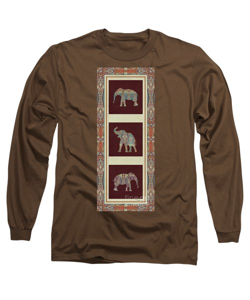 Kashmir Elephants - Vintage Style Patterned Tribal Boho Chic Art Long Sleeve T-Shirt by Audrey Jeanne Roberts