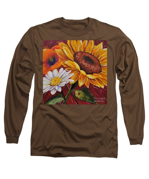 Long Sleeve T-Shirt featuring the painting Kathrin's Flowers by Lisa Fiedler Jaworski
