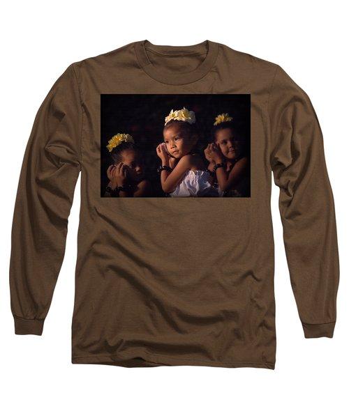 Long Sleeve T-Shirt featuring the photograph Keiki Conch Shell Hula by Lori Seaman