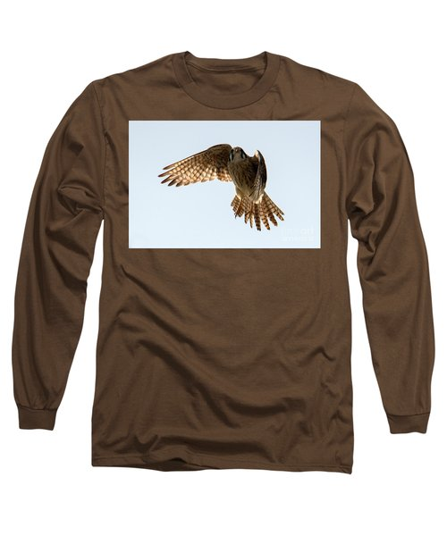 Long Sleeve T-Shirt featuring the photograph Kestrel Hover by Mike Dawson