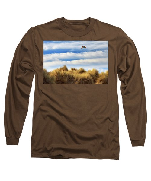 Long Sleeve T-Shirt featuring the photograph Kite Over The Hill by James Eddy