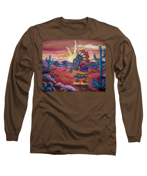 Kokopelli Sunset Long Sleeve T-Shirt by Megan Walsh