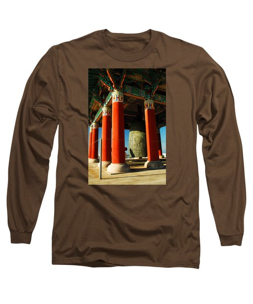 Long Sleeve T-Shirt featuring the photograph Korean Peace Bell San Pedro by James Kirkikis