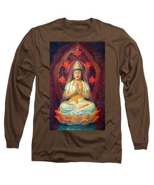 Long Sleeve T-Shirt featuring the painting Kuan Yin's Prayer by Sue Halstenberg