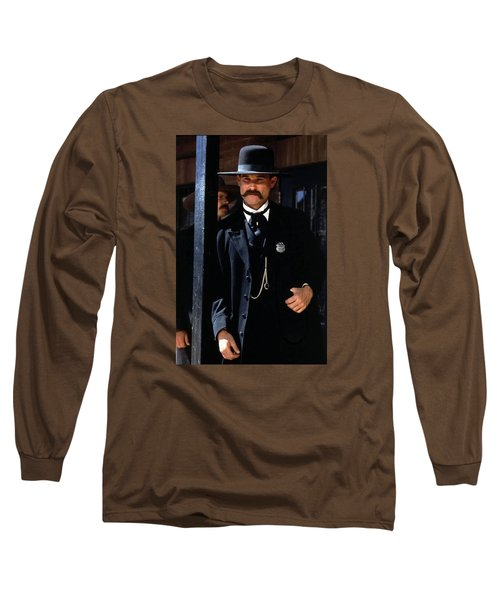Kurt Russell As Wyatt Earp Tombstone Arizona 1993-2015 Long Sleeve T-Shirt by David Lee Guss
