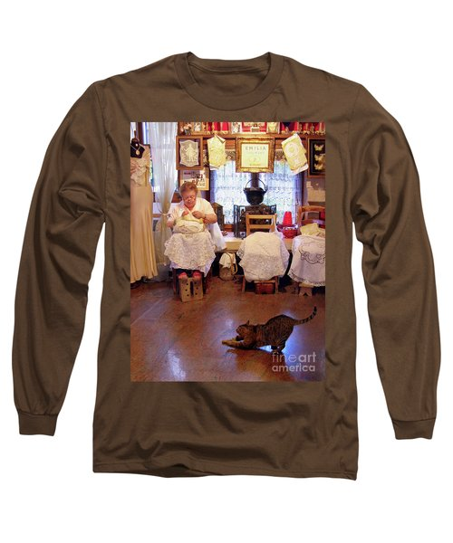 Long Sleeve T-Shirt featuring the photograph Lace Lady Of Burano by Jennie Breeze