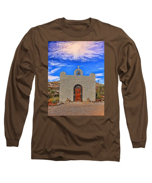 Lajitas Chapel Painted Long Sleeve T-Shirt by Judy Vincent