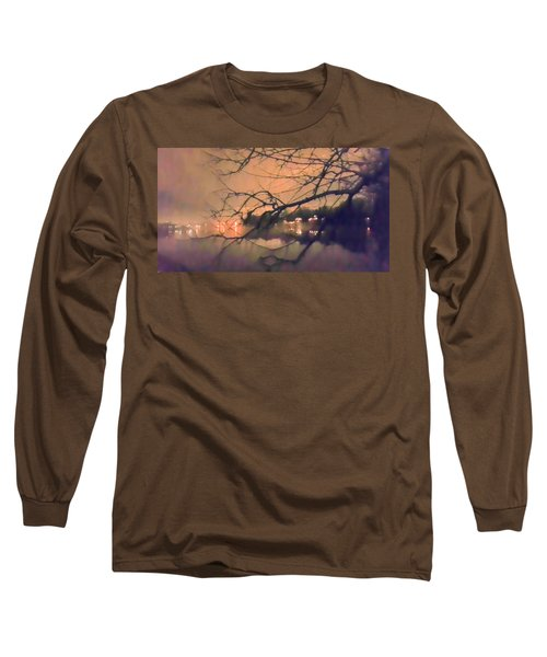 Foggy Lake At Night Through Branches Long Sleeve T-Shirt