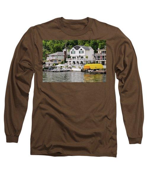 Long Sleeve T-Shirt featuring the photograph Lakefront Living Hopatcong by Maureen E Ritter
