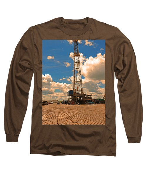 Land Oil Rig Long Sleeve T-Shirt by Ronald Olivier