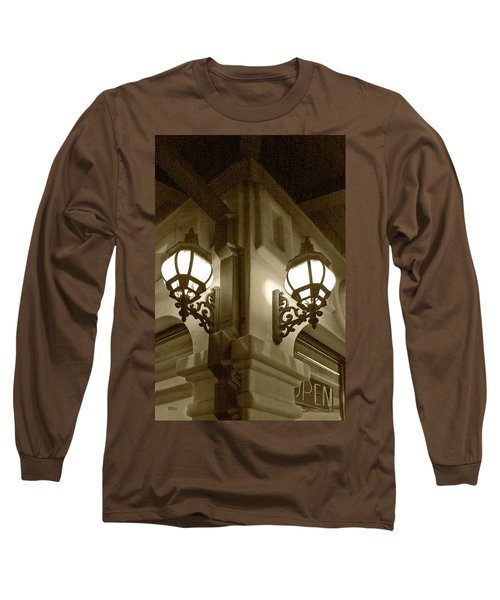 Long Sleeve T-Shirt featuring the photograph Lanterns - Night In The City - In Sepia by Ben and Raisa Gertsberg