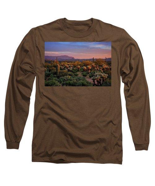 Long Sleeve T-Shirt featuring the photograph Last Light On The Sonoran  by Saija Lehtonen