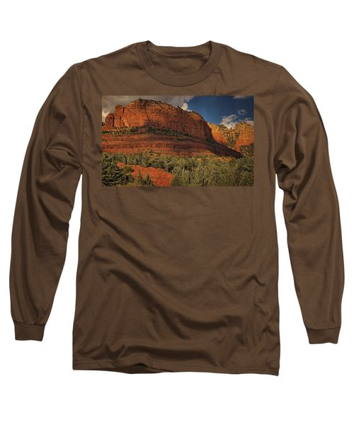 Late Light At Brin's Mesa Txt Pano Long Sleeve T-Shirt