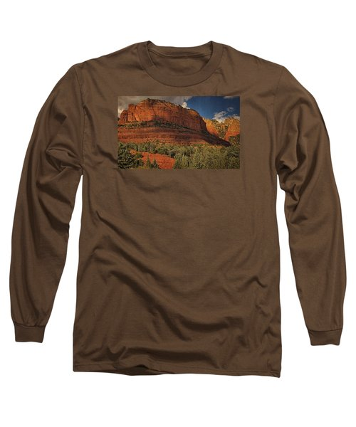 Late Light At Brin's Mesa Txt Pano Long Sleeve T-Shirt
