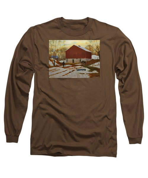 Late Winter At The Farm Long Sleeve T-Shirt by David Gilmore