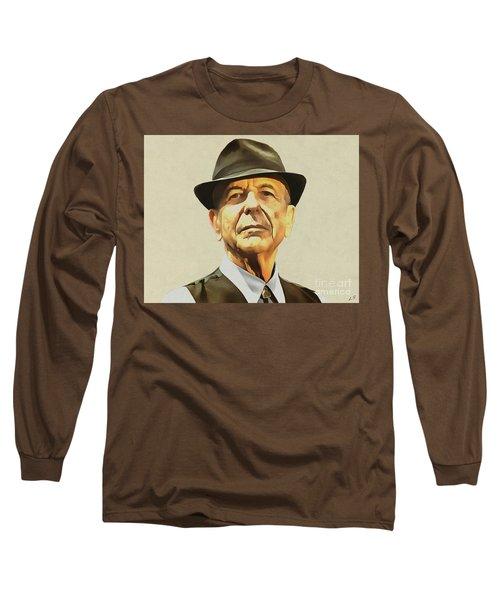 Leonard Cohen Long Sleeve T-Shirt by Sergey Lukashin